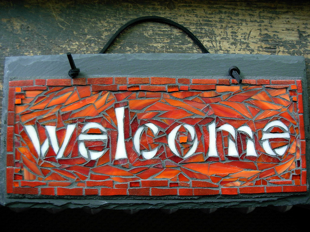 welcome sign mosaic