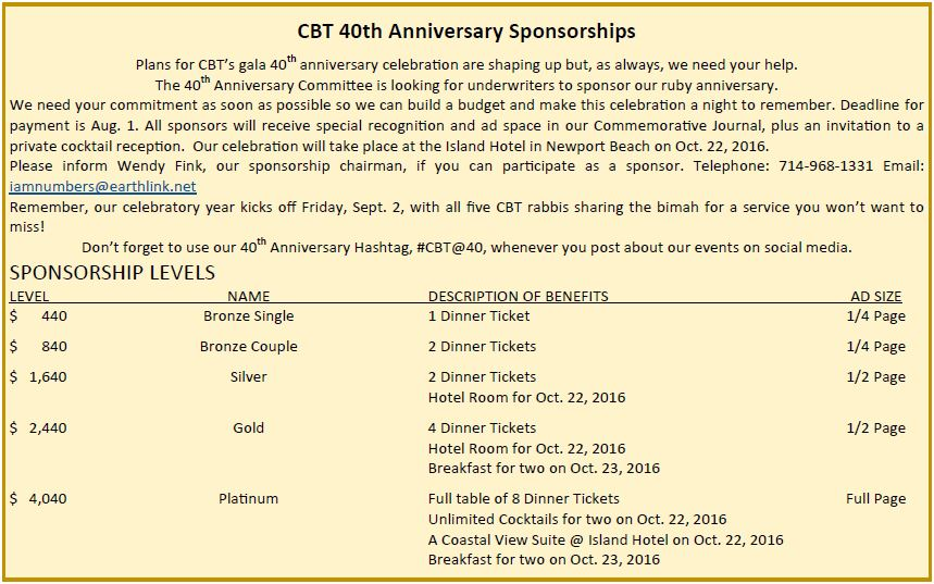 40th Anniversary sponsorship information
